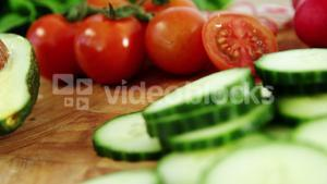 Various vegetables on chopping board