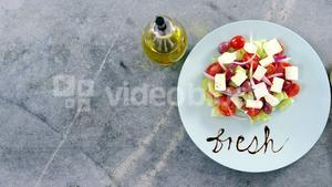 Salad with text in plate