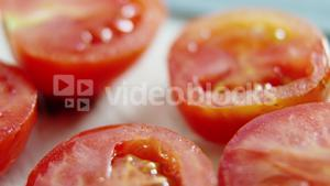 Close-up of sliced tomatoes