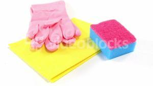 Cleaning sponge, cloth and gloves