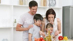 Family at home in Kitchen