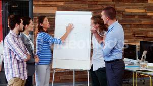 Business executives discussing over white board
