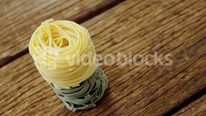 Close-up of green and yellow fettuccine