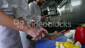 Team of chefs chopping vegetables and preparing food