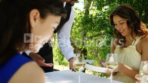 Waiter serving food to couples