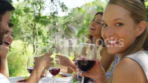 Group of friends toasting red wine glasses