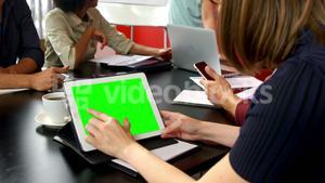 Business executive using digital tablet