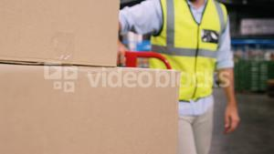 Worker pushing trolley of cardboard boxes