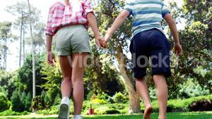 Boy and girl walking in park