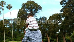 Father carrying his son on his shoulders in park