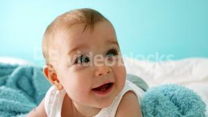 Close-up of a cute smiling baby girl