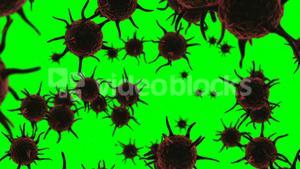 Digital generated virus cells flowing against green background