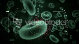 Digitally generated virus cells and red blood cells against black background