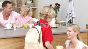 Mother giving her son the school lunch in the kitchen