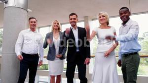Business executives showing fist