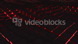Red illuminated blocks moving in wavy pattern