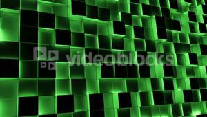 Green illuminated blocks moving in and out