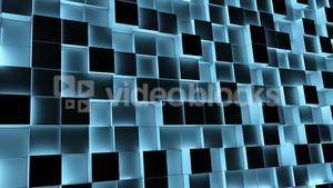 Blue illuminated blocks moving in and out