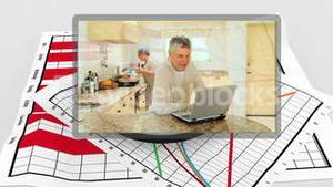 Family videos appearing with diagram behind them