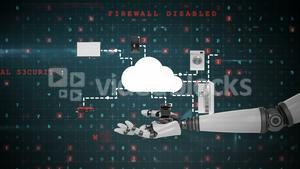 Robotic hand presenting digital cloud symbol surrounded with home appliance icons