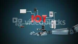 Robotic hand presenting digital iot symbol surrounded with home appliance icons
