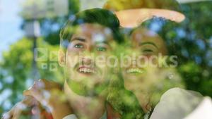 Couple embracing in restaurant