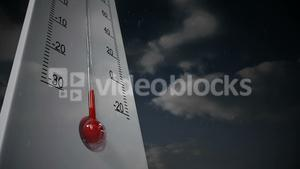 Digital composite video of giant thermometer