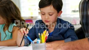 Parents helping childrens with school homework
