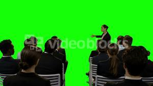 Businesswoman giving presentation on futuristic digital screen