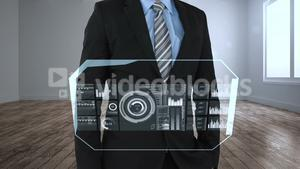 Businessman using digital interface screen