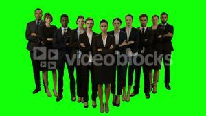 Portrait of business executives stand with arms crossed