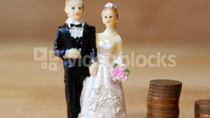 Miniature bridal couple standing beside stack of coins
