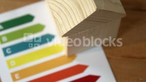 Chart paper and house model on table