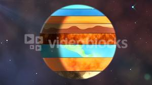 Earth with various layers rotating in the sky