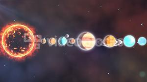 Solar system with sun and planets in a row