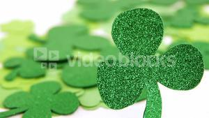 Close up view of sparkly green shamrock for st patricks day