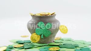 Leprechauns pot of gold with shamrocks for st patricks