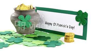 Happy St Patricks day message with leprechauns pot of gold
