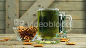 Green beer and bretzels for st patricks