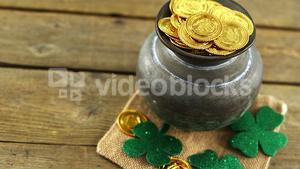 Leprechauns pot of gold on table for st patricks