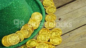Close up view of leprechauns hat and gold for st patricks