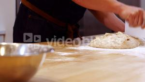 Chef preparing the dough