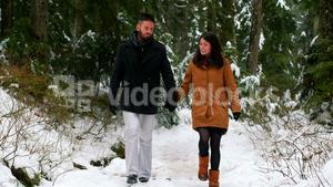 Souple talking while walking on the snow covered forest path