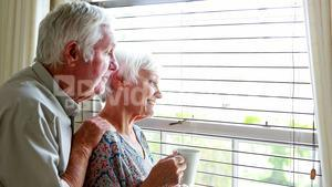 Senior couple looking out from the window