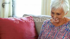 Smiling senior woman using laptop in living room