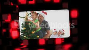 Montage about families celebrating Christmas