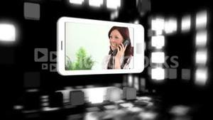 Animated smart phones showing business people