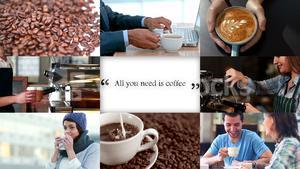 People in cafe and coffee making