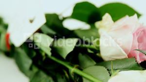 Bunch of pink roses with happy mothers day tag