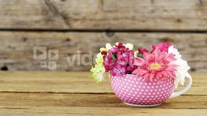 Cup of flower on wooden plank